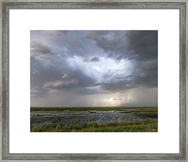 Framed Print featuring the photograph Thunderstorm Over Cheyenne Bottoms by Rob Graham