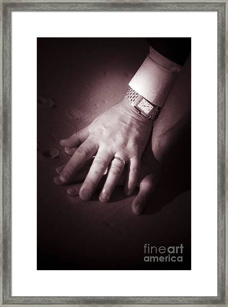 Touching Wedding Moment Framed Print