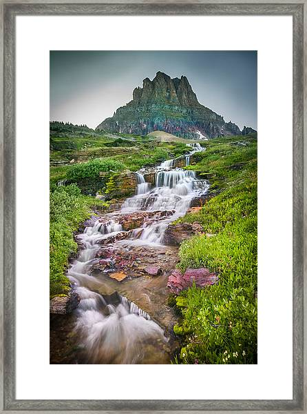 Triple Falls Stream Glacier National Park Framed Print
