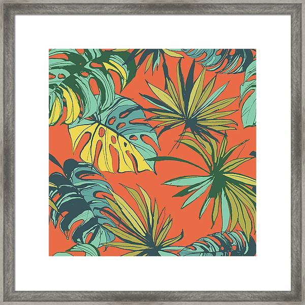 Tropical Jungle Floral Seamless Pattern Framed Print