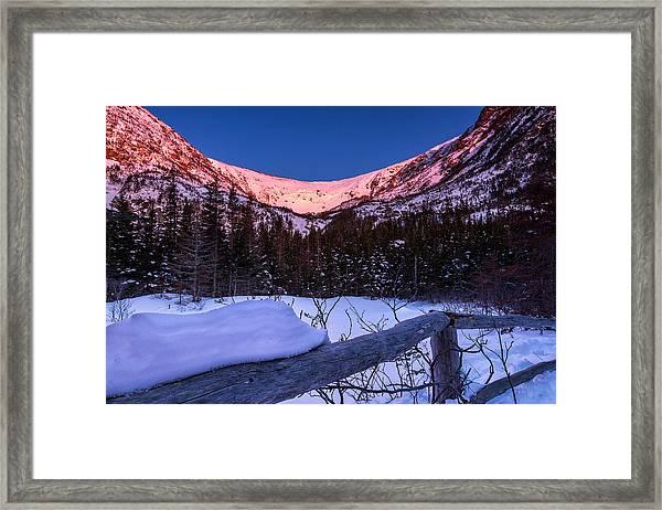 Tuckerman Ravine In The Winter Alpenglow Framed Print