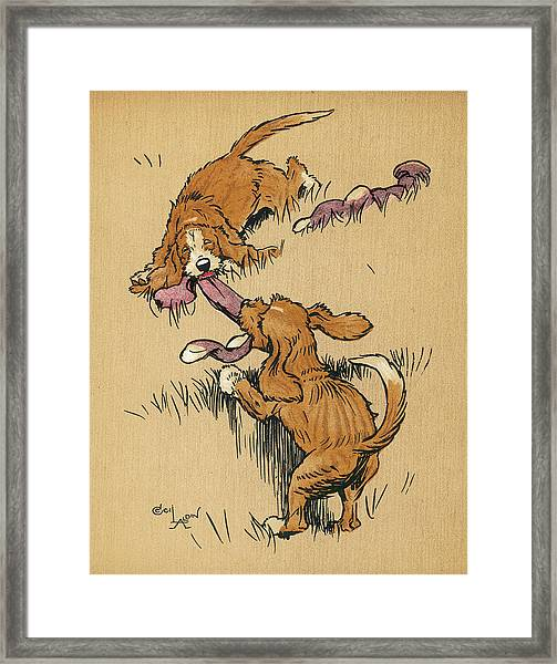 Twin Puppies, Snip And Snap Framed Print