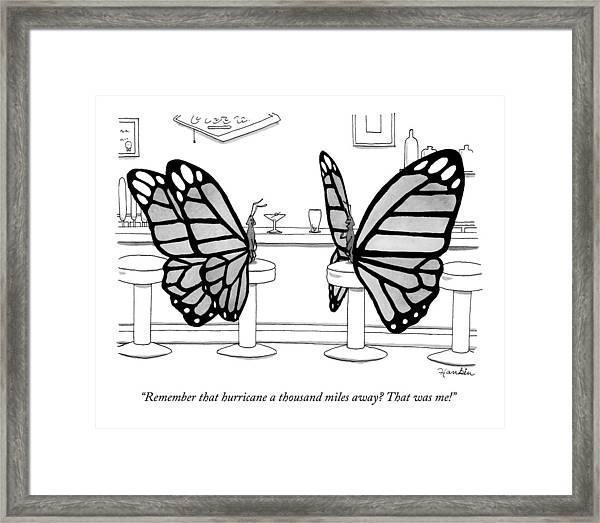 Two Butterflies Talking In A Bar Framed Print