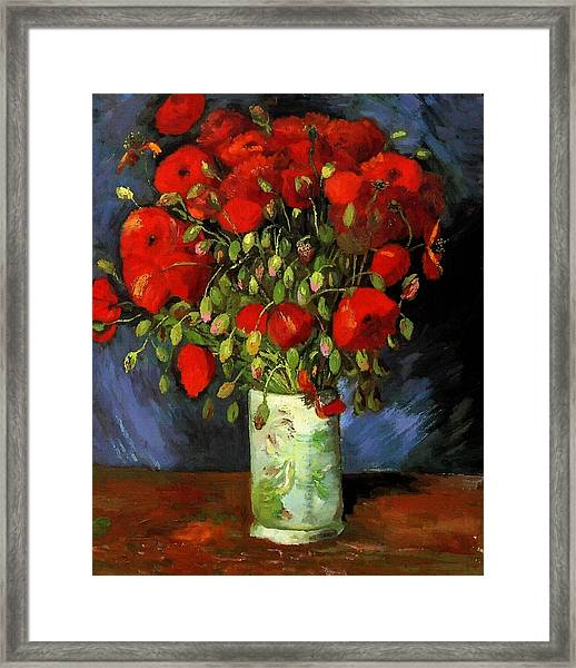 Vase With Red Poppies Framed Print