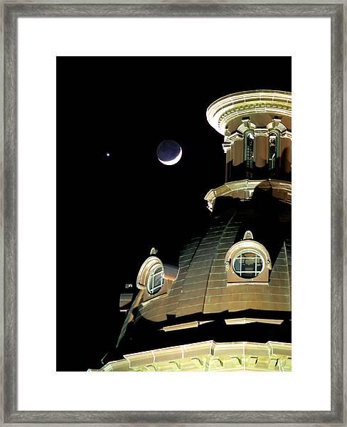 Venus And Crescent Moon-1 Framed Print