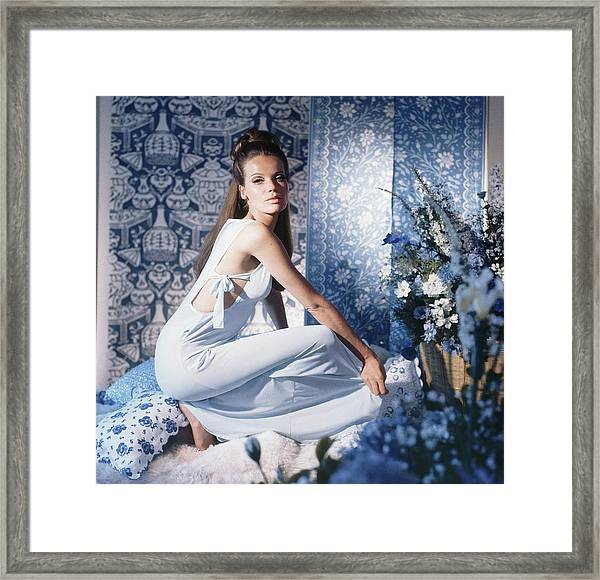 Veruschka Wearing Blue Nightgown Framed Print by Horst P. Horst