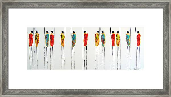 Vibrant Masai Warriors - Original Artwork Framed Print