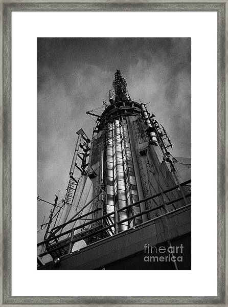 View Of The Top Of The Empire State Building Radio Mast New York City Framed Print