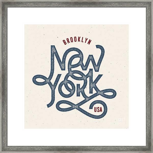 Vintage Hand Lettered Textured New York Framed Print by Tortuga