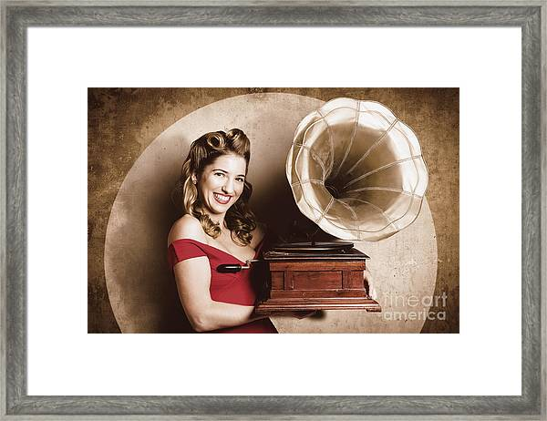 Vintage Pin-up Girl Listening To Record Player Framed Print