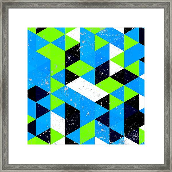 Vintage Triangle Pattern.geometric Framed Print by Veronika M