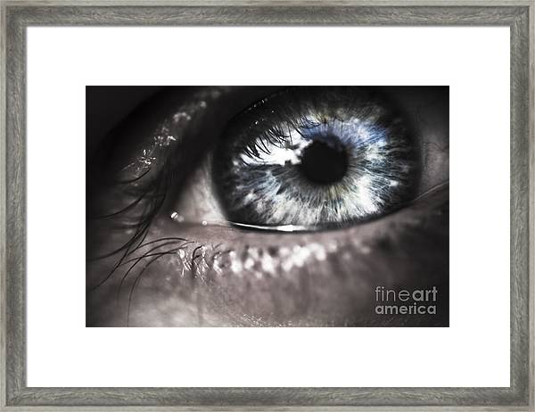 Visionary Blue Eye Watching Electric Skies Framed Print