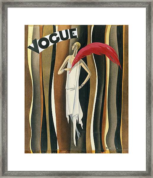 Vogue Magazine Cover Featuring A Woman In A White Framed Print