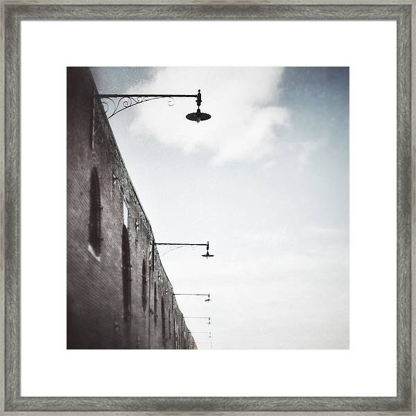 Framed Print featuring the photograph Warehouse Lamps by Steve Stanger