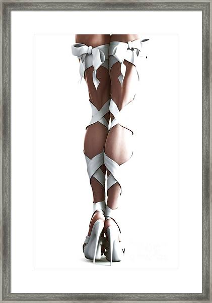 Framed Print featuring the digital art White Ribbons by Sandra Bauser Digital Art