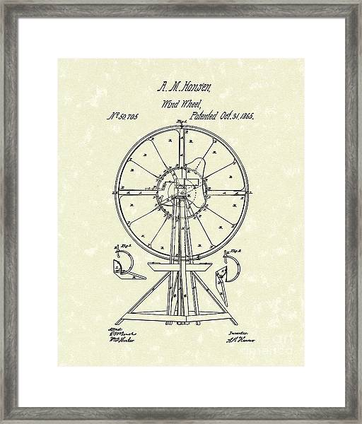 Wind Wheel 1865 Patent Art Framed Print
