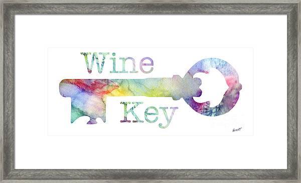 Wine Key Watercolor Framed Print