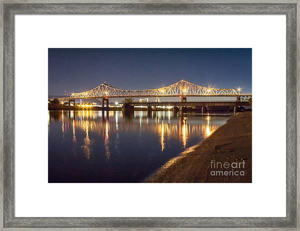 Framed Print featuring the photograph Winona Bridge At Sunset by Kari Yearous