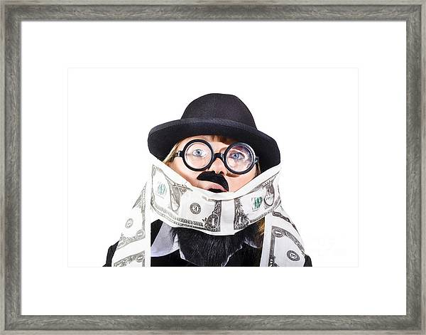 Woman Rolling Rich With Us Money Framed Print
