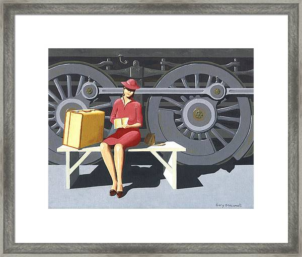 Woman With Locomotive Framed Print