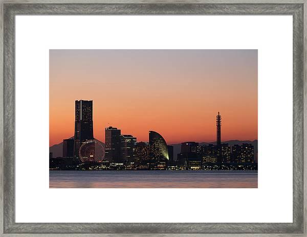 Yokohama Sunset View Framed Print