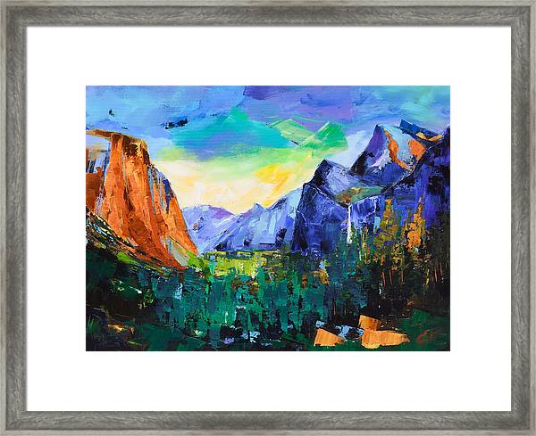 Framed Print featuring the painting Yosemite Valley - Tunnel View by Elise Palmigiani