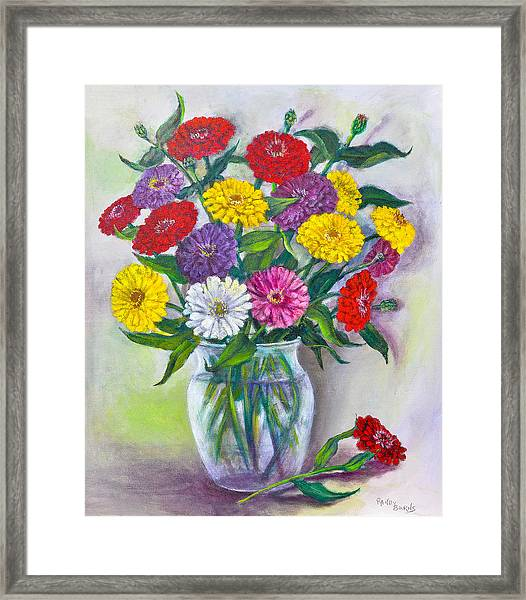 Old Fashioned Zinnias Framed Print