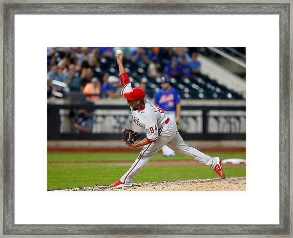 Philadelphia Phillies V New York Mets Framed Print by Jim McIsaac