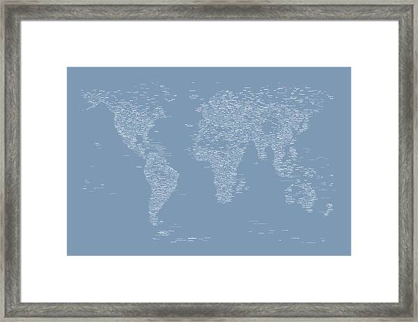 World Map Of Cities Framed Print