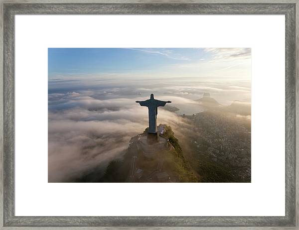 The Art Deco Statue Of Jesus, Known Framed Print