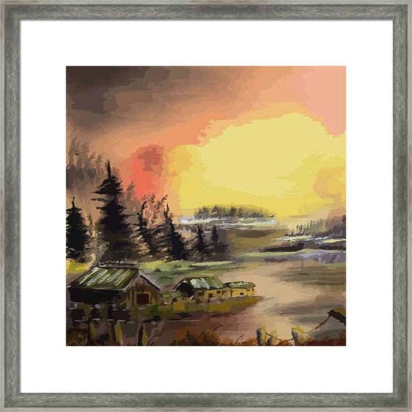 110214fa Fishing Camp Framed Print