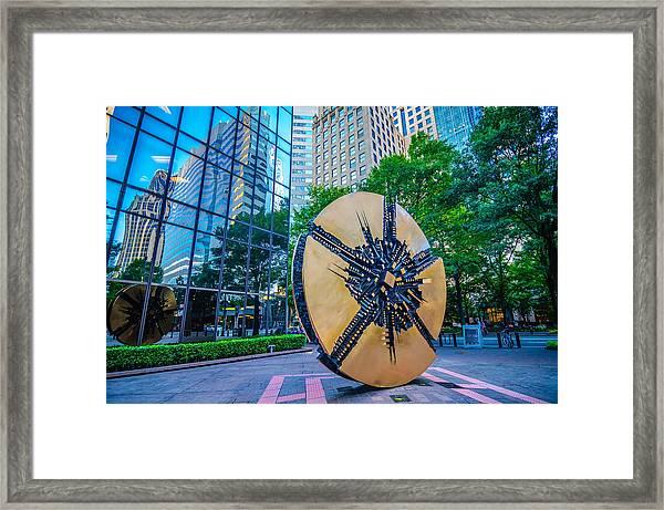 Skyline And City Streets Of Charlotte North Carolina Usa Framed Print