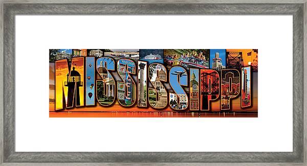 12 X 36 Horizontal Mississippi Postcard Version 1 Framed Print