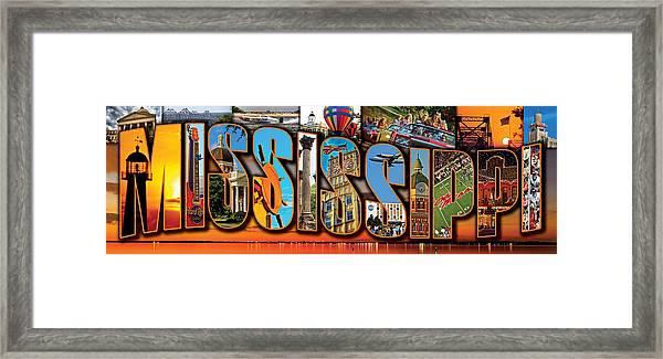 12 X 36 Horizontal Mississippi Postcard Version 2 Framed Print