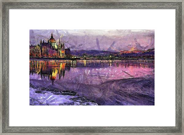 Budapest By Night Framed Print