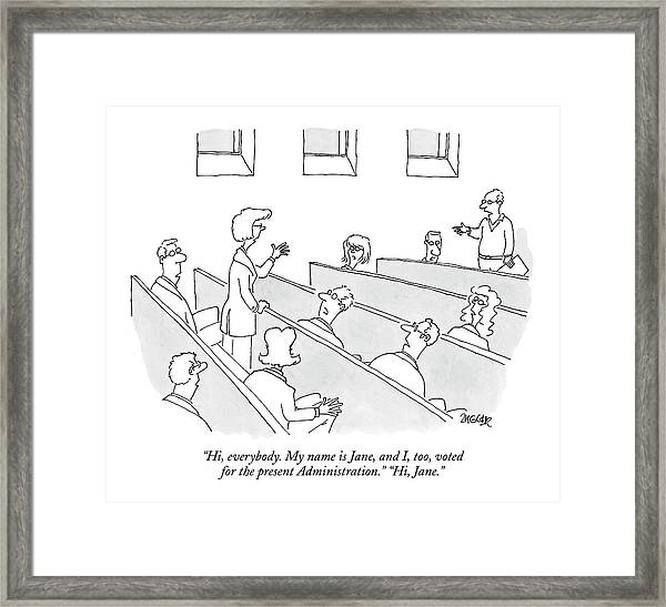 Hi, Everybody. My Name Is Jane, And I, Too, Voted Framed Print