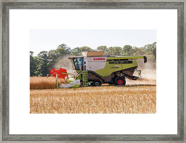 Rapeseed Harvesting Framed Print by Lewis Houghton/science Photo Library