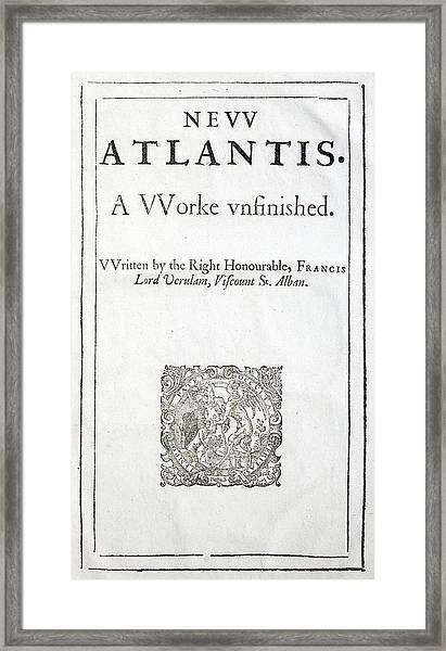 1627 Francis Bacon New Atlantis Frontis Framed Print by Paul D Stewart