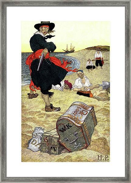 1690s Illustration Pirates On Beach Framed Print