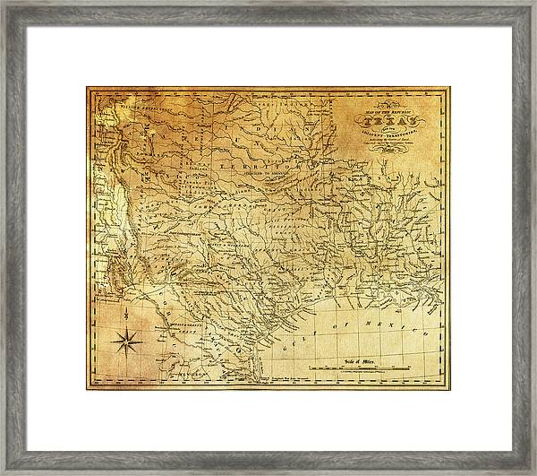 1841 Republic Of Texas Map Framed Print