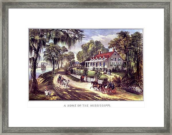 1870s 1800s A Home On The Mississippi - Framed Print