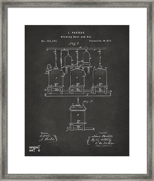 1873 Brewing Beer And Ale Patent Artwork - Gray Framed Print