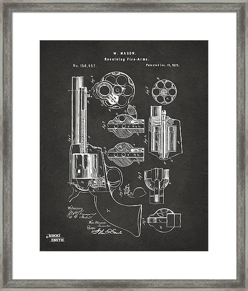 1875 Colt Peacemaker Revolver Patent Artwork - Gray Framed Print