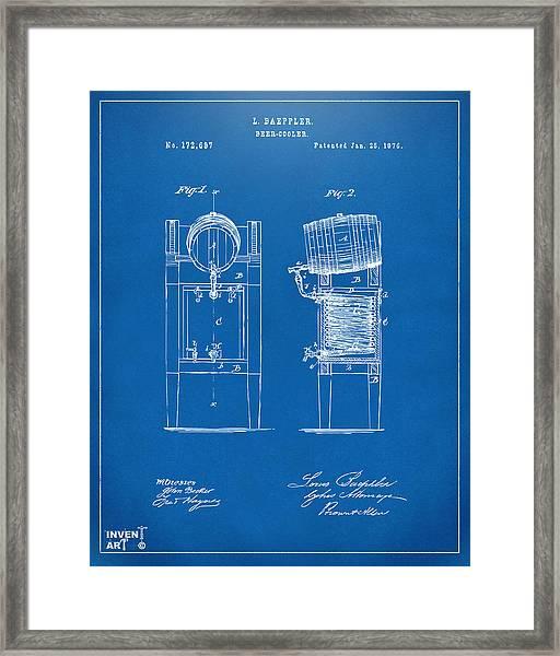 1876 Beer Keg Cooler Patent Artwork Blueprint Framed Print