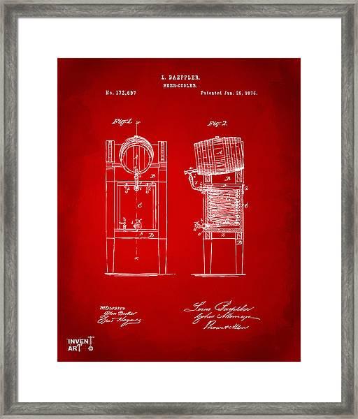 1876 Beer Keg Cooler Patent Artwork Red Framed Print