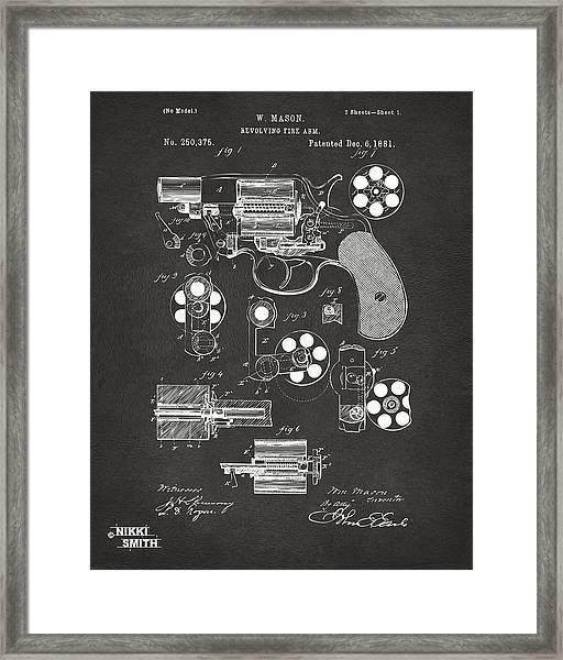 1881 Colt Revolving Fire Arm Patent Artwork - Gray Framed Print