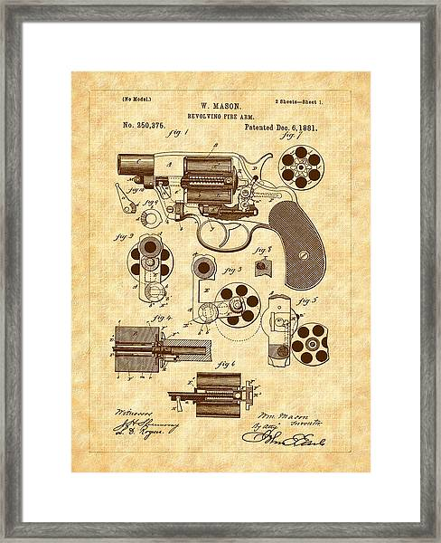 Framed Print featuring the drawing 1881 Mason Revolver Firearm Patent by Barry Jones