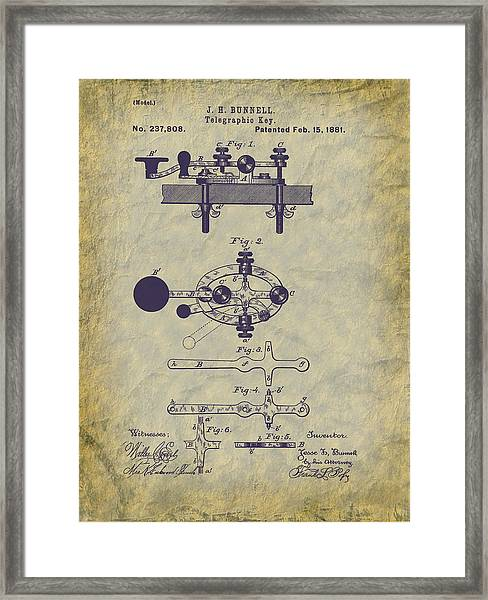 1881 Telegraph Key Patent Art Framed Print