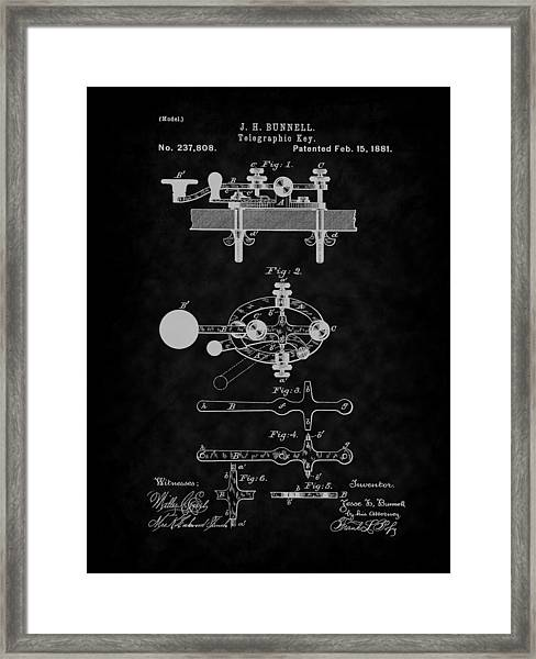 1881 Telegraph Key Patent Art-bk Framed Print