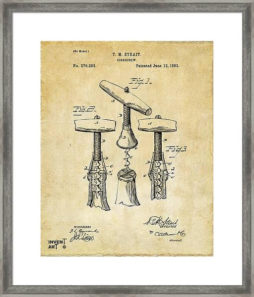1883 Wine Corckscrew Patent Art - Vintage Black Framed Print